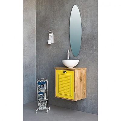 ארון אמבט קטן תלוי עץ ובחזית אפוקסי מיניקס