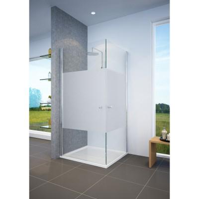 מקלחון פינתי 2 דלתות נפתחות , צריבה חלבית באמצע , 80 ס''מ עד 82 ס''מ