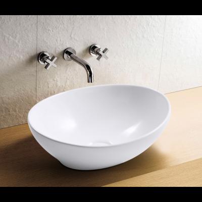 כיור לאמבטיה חרס אובלי דגם אליס מונח לבן מבריק