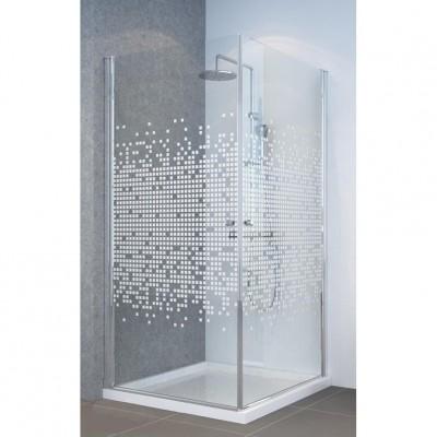מקלחון פינתי 2 דלתות על ציר פתיחה 6 מ''מ מעוצב ריבועים צריבה מיוחדת