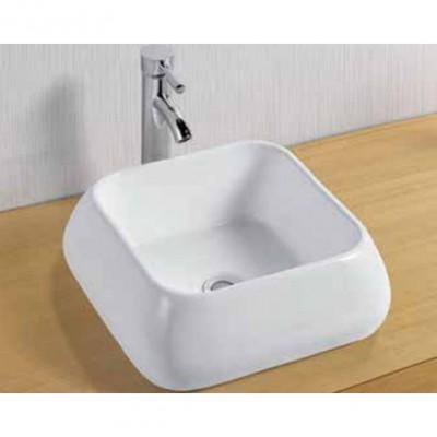כיור לאמבטיה חרס מונח 7080 לבן מבריק - רוחב 40 ס''מ | עומק 40 ס''מ