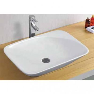 כיור לאמבטיה חרס מונח 7118 לבן מבריק - רוחב 56 ס''מ | עומק 39 ס''מ