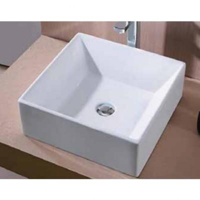 כיור לאמבטיה חרס מונח 7432 לבן מבריק - רוחב 43 ס''מ | עומק 43 ס''מ