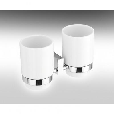 HAMAT- מתקן תלוי כפול כוסות חרס לבן למברשת שיניים 801876