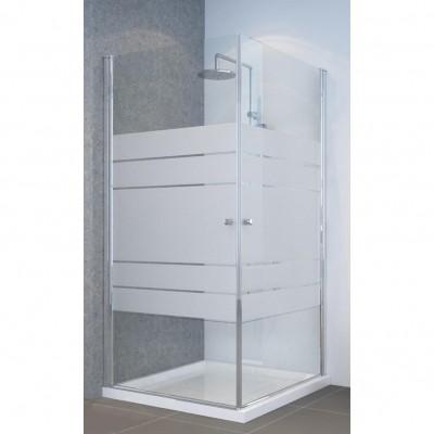מקלחון פינתי 2 דלתות על ציר פתיחה 6 מ''מ מעוצב פסים צריבה מיוחדת