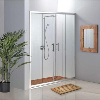 מקלחון חזית הזזה 2 קבועים ו- 2 דלתות 6 מ''מ מחסומת