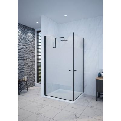מקלחון פינתי 2 דלתות נפתחות פרזול שחור , צריבה חלבית באמצע , 90 ס''מ עד 92 ס''מ