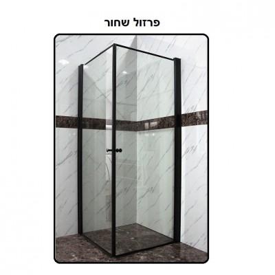 בלעדי! מקלחון פינתי מרובע 2 דלתות על ציר שקוף פרזול שחור