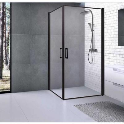 מקלחון פינתי 2 דלתות פרופילים שחור 90X90