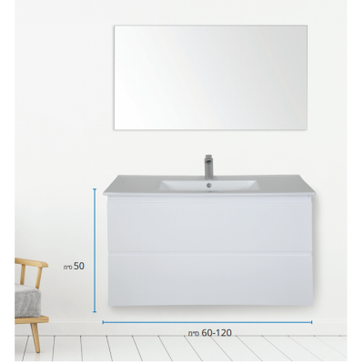 """ארון אמבטיה תלוי אפוקסי מראנו 80 ס""""מ"""