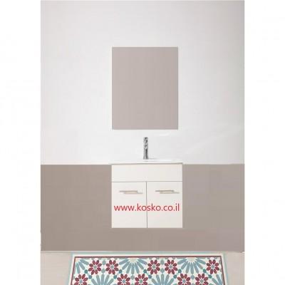 """ארון אמבטיה תלוי דגם מונדיאל במגוון מידות 60,70,80,90,100,110,120 ס""""מ כולל כיור ומראה"""