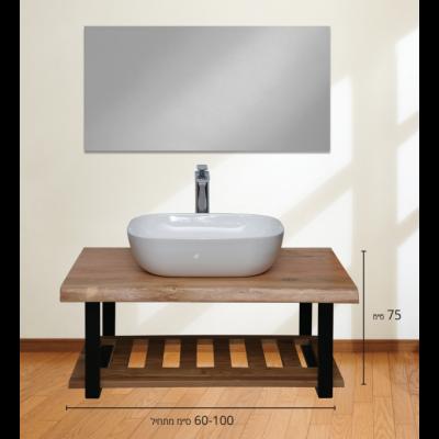 ארון אמבטיה עומד משטח עץ טבעי כוכבא