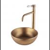 כיור לאמבטיה עגול חרס מונח שפה דקה ברונזה צהובה - קוטר 28 ס''מ