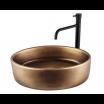 כיור לאמבטיה אובלי חרס מונח שפה דקה ברונזה צהובה - רוחב 50 ס''מ עומק 35 ס''מ