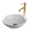 כיור לאמבטיה חרס אובלי מונח לבן מבריק - רוחב 40 ס''מ עומק 33 ס''מ