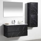 ארון אמבטיה תלוי מגירות 120 ס''מ דגם קטי שחור שיש