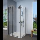 מקלחון פינתי שחור מט מרובע שתי דפנות קבועות ושתי דלתות פתיחה