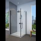 מקלחון פינתי שחור מט לפי מידה דופן קבועה + דלת פתיחה החוצה בלבד SELAQUA