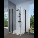 מקלחון פינתי שחור מט לפי מידה קיר צד + דופן קבועה ודלת פתיחה החוצה בלבד SELAQUA