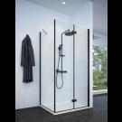 מקלחון פינתי שחור מט לפי מידה קיר צד + דלת הרמוניקה מתקפל SELAQUA