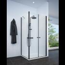 מקלחון פינתי שחור מט לפי מידה קיר צד + חזית 2 דלתות SELAQUA