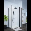 מקלחון פינתי שחור מט לפי מידה קיר צד + דופן קבועה וחזית 2 דלתות SELAQUA
