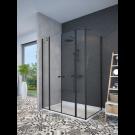 מקלחון פינתי שחור מט לפי מידה קיר צד + 2 דפנות קבועות ו-2 דלתות SELAQUA