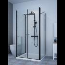 מקלחון פינתי בצורת ח' שחור מט לפי מידה 2 קירות צד + חזית 2 דלתות SELAQUA