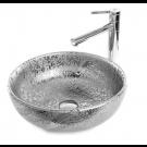 כיור לאמבטיה עגול חרס מונח בגון כסף מט משולב עם ניקל - קוטר 41 ס''מ