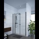 מקלחון חזיתי דופן קבועה + 2 דלתות שחור מט  SELAQUA