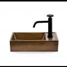כיור לאמבטיה מלבני חרס מונח / תלוי ברונזה צהובה - רוחב 41 ס''מ עומק 22.5 ס''מ