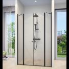 מקלחון חזית 2 דפנות קבועות + 2 דלתות שחור מט  SELAQUA