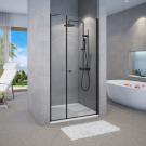 מקלחון חזיתי דופן קבועה ו- דלת פתיחה החוצה בלבד שחור מט SELAQUA