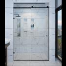 מקלחון הזזה על מוט קבוע ודלת 8 מ''מ שחור מט SELAQUA