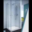 מקלחון פינתי מרובע קבוע + דלת בצד אחד, צד שני דלת מתקפלת הרמוניקה