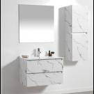 ארון אמבטיה תלוי מגירות 80 ס''מ דגם קטי לבן שיש