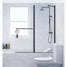 אמבטיון שחור קבוע ודלת 120 ס''מ