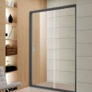 מקלחון חזית קבוע + דלת הזזה פרזול שחור