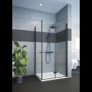 מקלחון פינתי הרמוניקה ודלת שחור מט לפי מידה SELAQUA