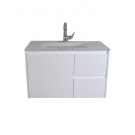 """ארון אמבטיה תלוי זכוכית דגם שנהב 80 ס""""מ עומק 39 כולל כיור ומראה"""