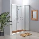 מקלחון חזית 2 קבועים ו- 2 דלתות הזזה 140-145 ס''מ שקוף / פסיים