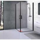 מקלחון פינתי 2 דלתות פרופילים שחור 80X80