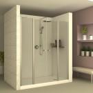 מקלחון חזית 2 קבועים ו- 2 דלתות הנפתחת פנימה והחוצה 6 מ''מ מחסומת