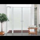 מקלחון חזית דופן קבוע ו- 2 דלתות נפתחות פנימה והחוצה KDD