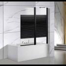 אמבטיון קבוע ודלת 120 ס''מ פרזול שחור עם פסים שחור