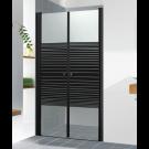 מקלחון חזית שחור בגימור שקוף עם פסים שחור במבחר מידות