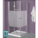 SELAQUA מקלחון פינתי מרובע הרמוניקה דלתות מתקפלות 70X80