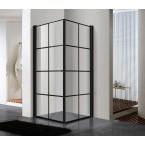 מקלחון פינתי 2 דלתות פרזול שחור קוביות