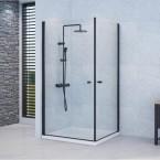 מקלחון פינתי מרובע 2 דלתות על ציר פרזול שחור SEALQUA
