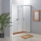 מקלחון חזית 2 קבועים ו- 2 דלתות הזזה 135-140 ס''מ שקוף / פסיים